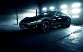 Картинка Maserati, Front, GranTurismo, Black, Wheels, Garage, ADV.1, Ligth