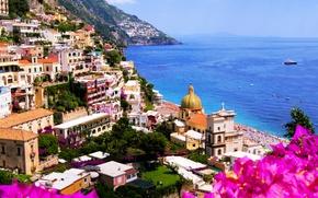 Картинка море, пейзаж, цветы, природа, город, скалы, побережье, дома, Италия, собор, Italy, Amalfi, Амальфи