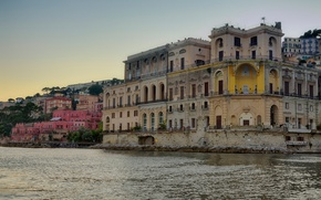 Картинка море, дома, Италия, Неаполь