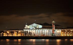 Картинка ночь, Питер, Санкт-Петербург, Россия, Russia, night, Saint Petersburg, Neva River, Река Нева, Центральный военно-морской музей