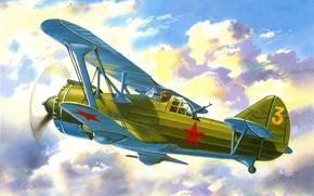 Картинка небо, облака, рисунок, штурмовик, советский, двухместный, биплан, убирающимся, шосси, Ди-6Ш