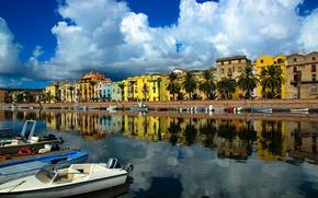 Картинка дома, лодки, Италия, гавань, Сардиния, Боза
