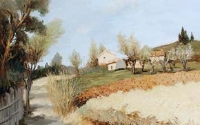 Картинка деревья, пейзаж, дом, забор, картина, холм, Марсель Диф, The Street at Arcy