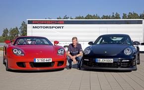 Картинка фон, 911, Porsche, Порше, Carrera GT, суперкары, автогонщик, Каррера ГТ, Walter Röhrl, Вальтер Рёрль
