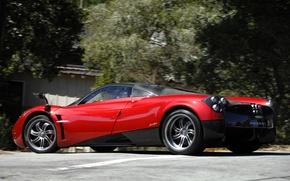 Картинка красный, суперкар, red, Pagani, supercar, street, пагани, уайра, huayra