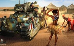 Картинка песок, девушки, пустыня, рисунок, арт, хижины, танк, британский, World of Tanks, Nikita Bolyakov, туземки, Mk.II …