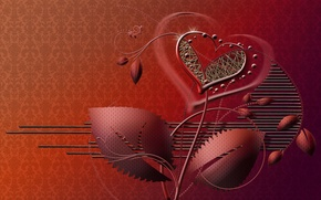 Обои стиль, фон, цветок, сердце