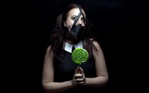 Картинка девушка, маска, лединец