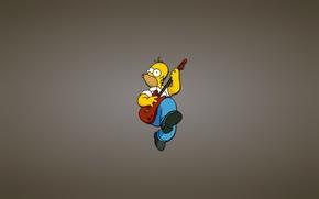 Картинка гитара, Симпсоны, гомер, красная, The Simpsons, Homer Simpson, веселуха