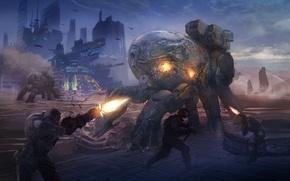 Картинка город, оружие, роботы, арт, солдаты, битва, выстрелы