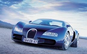 Обои синий, пустыня, Авто, Bugatti