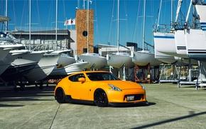 Картинка Nissan, tuning, orange, 370z, vossen, frontside