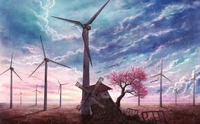 Обои заброшенная, голубое, мельница, лепестки, Sakura tree, сакура, небо, цветущая