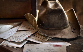 Картинка фон, шляпа, письма