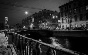 Картинка снег, мост, город, огни, дом, Питер, Санкт-Петербург, старый, мосты, набережная, центр, нева, фонд, многоэтажка