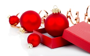 Картинка шарики, ленты, коробка, шары, узоры, игрушка, Новый Год, Рождество, красные, Christmas, New Year, елочная