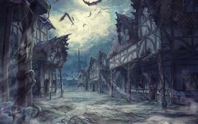 Картинка облака, ночь, луна, улица, дома, летучие мыши