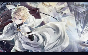 Обои вода, отражение, вампир, плащ, art, военная форма, Owari no Seraph, Michaela Hyakuya, Последний серафим, Yamato ...