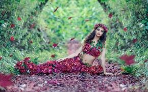 Картинка осень, листья, девушка, цветы, Alessandro Di Cicco