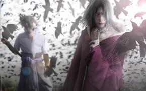 Обои naruto, itachi uchiha, sasuke uchiha, sharingan