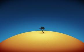 Обои синий, желтый, минимализм, Дерево