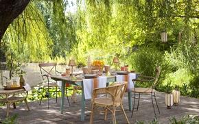 Картинка лето, пруд, стол, сад, фрукты, пикник, напитки, терраса