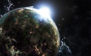 Обои свет, звезда, планета
