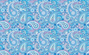 Картинка орнамент, узор, пейсли, голубой, индийские огурцы