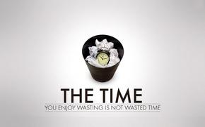 Картинка Время, Часы, Корзина, Надпись, Мусор, Time, Будильник, Серый фон, Wasted