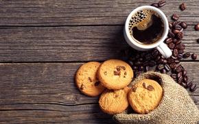 Картинка кофе, шоколад, зерна, печенье, чашка, мешочек