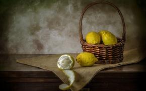 Обои фрукты, лимоны, фон
