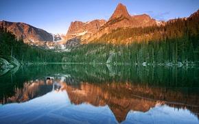Картинка горы, природа, озеро, отражение