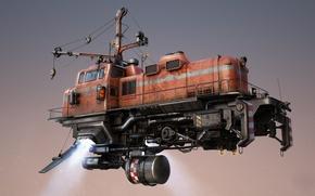Картинка фантастика, поезд, арт, летит, механизмы, train, Freightliner, freight train
