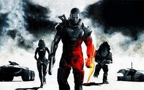 Картинка пустота, брызги, игры, огонь, сталь, пыль, челнок, пародия, Battlefield, инопланетяне, Шепард, Mass Effect 3, штык-нож, …