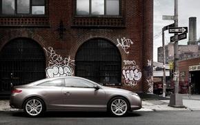 Обои автомобиль, граффити, город