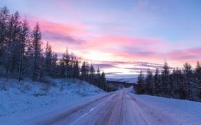 Обои закат, дорога, пейзаж