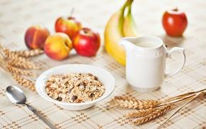 Обои здоровое питание, широкоэкранные, HD wallpapers, пшеница, рожь, завтрак, полноэкранные, ложка, стол, широкоформатные, фон, мюсли, яблоко, ...