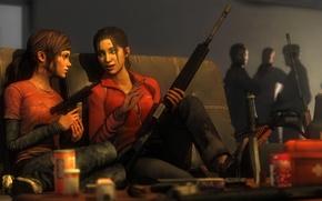 Картинка девушка, пистолет, оружие, девочка, Left 4 Dead, crossover, Zoey, The Last of Us, Ellie, атомат