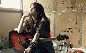 Картинка девушка, музыка, гитара, азиатка, Южная Корея, Kara, k-pop