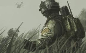 Обои арт, шлем, рюкзак, вертолет, Black Ops 2, рисунок, Call of Duty, небо, трава, бойцы