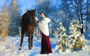 Картинка зима, лес, снег, парк, конь, лошадь, картина, прогулка, живопись, дама, ёлочки, обои от lolita777