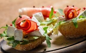 Обои сыр, хлеб, бутерброд, закуска, ветчина