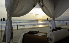 Обои пляж, песок, море, Волн, летом, природы, пейзаж, закат