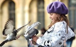 Картинка дети, широкоэкранные, размытие, HD wallpapers, обои, птицы, полноэкранные, background, fullscreen, голуби, девочка, широкоформатные, настроения, widescreen, ...