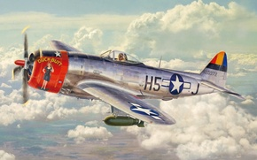 Картинка aircraft, war, art, airplane, painting, aviation, ww2, american fighter, P 47 Thunderbolt