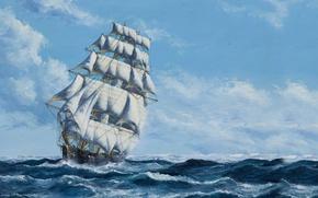 Картинка Небо, Море, Рисунок, Корабль, Парусник, Паруса, Живопись