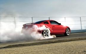 Картинка красный, дым, Mustang, Ford Mustang