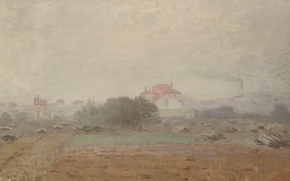 Картинка пейзаж, дом, картина, Клод Моне, Эффект Тумана