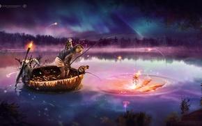 Картинка dream, monkey, water, night, desktopography, fish, boat, fishing, gold fish, 2016, amzing
