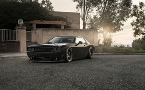 Картинка Muscle, Dodge, Challenger, Car, Front, Black, Sun, Tuning, R/T, Wheels, Ligth